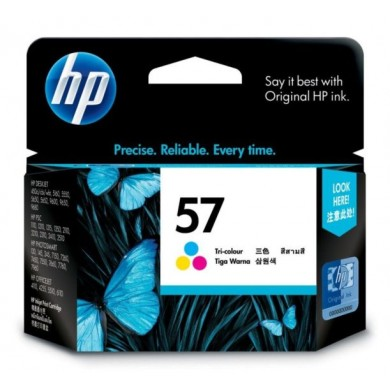 HP 57 Tri-Color Ink Cartridge, dj450, 5550, ps7xxx (17ml) =125 photos (format 10 x 15 cm); or 400 pages 15% coverage, Singapore