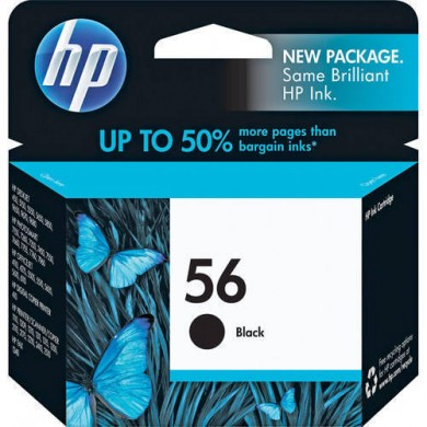 HP 56 Black Ink cartridge, dj450, 5550, ps7xxx (19ml) produces approximately 450 A4 size pages at 5% coverage, Malaysia