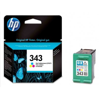 HP №343 Color Ink Cartridge (7ml), 260 pages at 15% coverage, Malaysia.