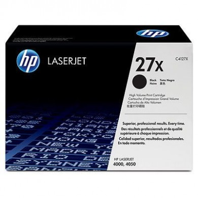 "HP Black Cartridge, LJ4000 & 4050 Series, Std (6000 pages at 5% coverage, 10000 pages with the ""Dr Grauert"" test page). Made in Japan."
