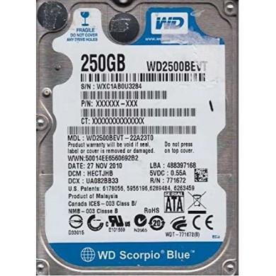 "2.5"" HDD 250GB  Western Digital WD2500BEVT Scorpio Blue, 5400rpm, 8Mb, SATAII, NP"