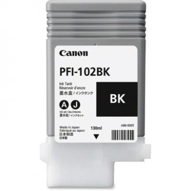 Ink Cartridge Canon PFI-102 Bk, black, 130ml for iPF500,510,600,605,610,650,655,700,710,720,750,755,760,765