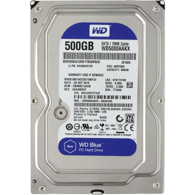 "3.5"" HDD 500GB  Western Digital WD5000AAKX Caviar® Blue™, 7200rpm, 16Mb, SATAIII"