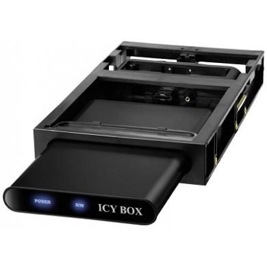 "RaidSonic ICY BOX ""IB-266StUSD-B"" External enclosure for 2.5'' SATA HDD with docking station 3.5"" bay, USB2.0 & eSATA, Aluminium/Plastic, 3.5'' docking station for stationary use, 1x Transport pouch, 1x Screwdriver, Dark"