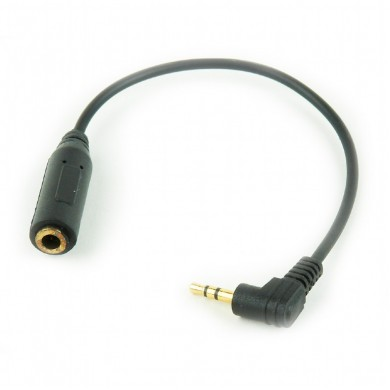 Audio cable 2.5mm-3.5mm - Cablexpert CCAP-2535,  2.5 mm plug to 3.5 mm female socket stereo audio adapter cable, Black