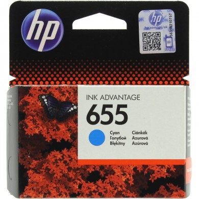 HP #655 Cyan Ink Cartridge, for Deskjet Ink Advantage 3525, 4615, 4625, 5525, 6525 AiO, 600 pages
