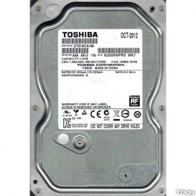 "3.5"" HDD 1.0TB  Toshiba DT01ACA100, Desktop™, 7200rpm, 32MB, SATAIII"