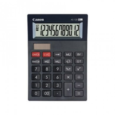 Calculator Canon AS-1200, Black, 12 digit , Large LCD (91.5x23.8mm), Character Size (19x6.12mm), Adjustable (2-level) Display, Double Independent Memory, Command Signs, Auto-power Off, Power (Solar and battery LR44), Size 177x119x37mm, Weight 152g