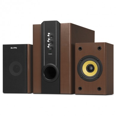 SVEN SPS-820 Wooden,  2.1 / 18W + 2x10W RMS, all wooden, (sub.4