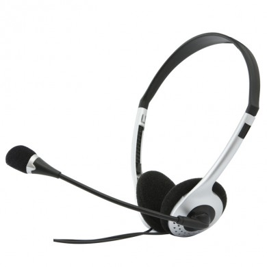 SVEN AP-010MV, Headphones with microphone, Volume control, 2.0m, Black/Silver