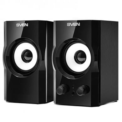 "SVEN SPS-605 Black,  2.0 / 2x3W RMS, headphone jack, wooden,  2.5"""