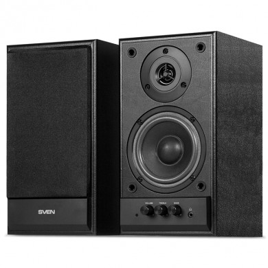 SVEN SPS-702 Black leather,  2.0 / 2x20W RMS, headphone jack, wooden, (4