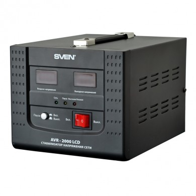 SVEN AVR-2000 LCD, 2000VA /1400W, Automatic Voltage Regulator, 2x Schuko outlets, Input voltage: 100-280V, Output voltage: 220V ± 8%, digital indicators of input and output voltage on the front panel, Pause function