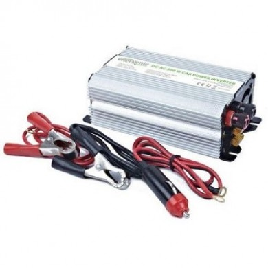 EnerGenie EG-PWC-032, 12V Car power inverter, 300W, with USB port / 5V-1A,  Power output: 300 W continuous power (peak power 600 W), Output: 230 VAC, Input: 11-15 VDC (car cigarette lighter or accumulator directly)