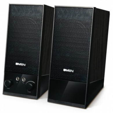 SVEN SPS-604 Black,  2.0 / 2x2W RMS, USB power supply, headphone jack, wooden,  2.1