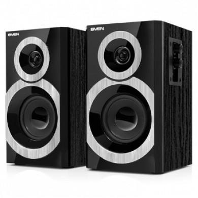 SVEN SPS-619 Black,  2.0 / 2x10W RMS, headphone jack, wooden, (3