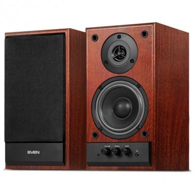 SVEN SPS-702 Walnut,  2.0 / 2x20W RMS, headphone jack, wooden, (4