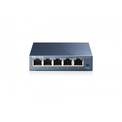 TP-LINK TL-SG105  5-port Gigabit Switch, 5 10/100/1000M RJ45 ports, steel case, QoS, IGMP Snooping