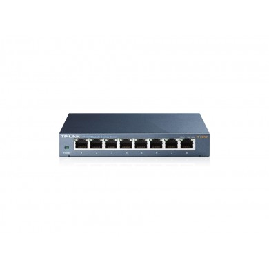 TP-LINK TL-SG108  8-port Gigabit Switch, 8 10/100/1000M RJ45 ports, steel case, QoS, IGMP Snooping