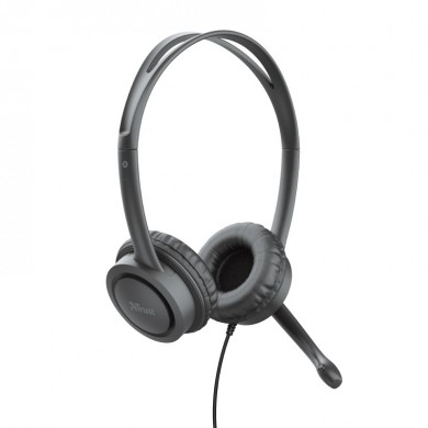 Trust  Mauro USB Headset, with Microphone, Inline remote control, mute switch for microphone and headphones, USB, Black
