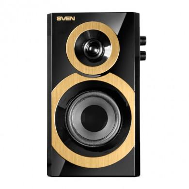 SVEN SPS-619 GOLD (Black),  2.0 / 2x10W RMS, headphone jack, wooden, (3