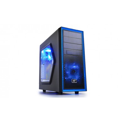 "DEEPCOOL ""TESSERACT_SW-BK"" ATX Case,  with Side-Window, without PSU, Massive metal mesh, Tool-less, 1x 120mm front Blue LED fan, 1x 120mm rear Blue LED fan, up to 3x 2.5"" HDD/SSD, Bottom loaded PSU, 1xUSB3.0, 1xUSB2.0 /Audio, Black/Blue"