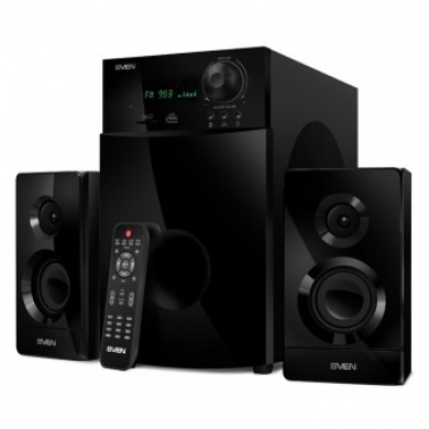 SVEN MS-2100 Black,  2.1 / 50W + 2x15W RMS, FM-tuner, USB & SD card Input, Digital LED display, built-in clock, set the switch-off time, remote control, all wooden, (sub.6.95