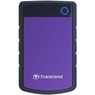 """2.5"""" External HDD 2.0TB (USB3.0)  Transcend StoreJet 25H3P, Purple/Black, MIL-STD-810F, Durable anti-shock RUBBER outer case,  Advanced internal hard drive suspension system, One Touch Backup, Quick Reconnect Button, compatible with Mac OS X"""