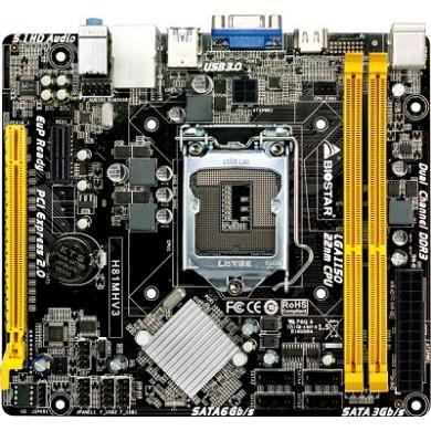 Biostar H81MHV3, Socket 1150, Intel H81, Dual 2xDDR3-1600, CPU Intel graphics, HDMI, 1x PCI-Ex16, 2xSATA2, 2xSATA3(6Gb/s), 1x PCI-Ex1, Realtek ALC662 6-Ch HD Audio, Gigabit LAN, 2xUSB3.0(5Gb/s), mATX