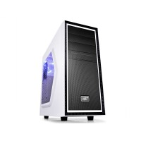 """DEEPCOOL """"TESSERACT_SW-WH WHITE"""" ATX Case,  with Side-Window, without PSU, Massive metal mesh, Tool-less, 1x 120mm rear  fan, up to 3x 2.5"""" HDD/SSD, Bottom loaded PSU, 1xUSB3.0, 1xUSB2.0 /Audio, White/Black"""