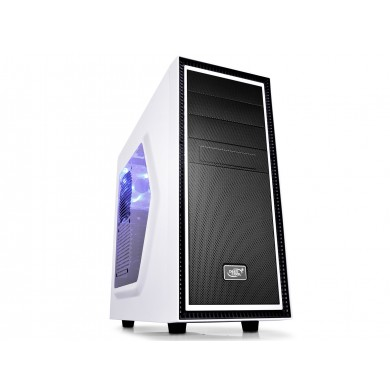 "DEEPCOOL ""TESSERACT_SW-WH WHITE"" ATX Case,  with Side-Window, without PSU, Massive metal mesh, Tool-less, 1x 120mm rear  fan, up to 3x 2.5"" HDD/SSD, Bottom loaded PSU, 1xUSB3.0, 1xUSB2.0 /Audio, White/Black"