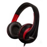SVEN AP-940MV Black-Red, Headphones with microphone, 3.5mm (4 pin) or 2*3.5 mm (3 pin) stereo mini-jack, Call receive/Pause button, Flat cable, Cable length: 1.2m + 1m (adapter for PC), Black/Red