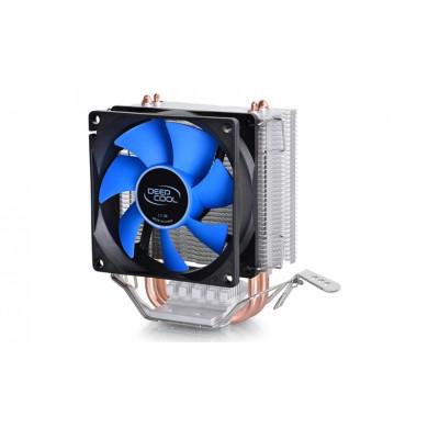 """DEEPCOOL Cooler """"Ice Edge Mini FS V2"""", Socket 1155/1151 & FM2/AM3+, up to 100W, 80х80х25mm, 2200rpm, <24.7dBA, 25.1CFM, 3 pin, Hydro Bearing, 2 heatpipes direct contact"""