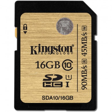16GB SD Class10 UHS-I  Kingston SDA10, Ultimate, 600x, Up to: 90MB/s