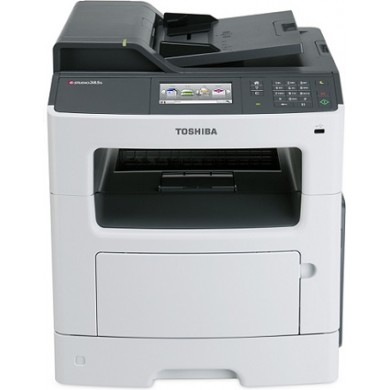 MFD Toshiba e-Studio 385S,Mono Printer/Copier/Color Scanner/FAX,DADF(50-sheet),Duplex,Net,WiFi,Adobe PostScript, A4,38ppm,512Mb,1200x1200dpi,60-163г/м2,Scan1200x600dpi-24 bit,250+50sheet tray,Colour Touch Screen,Max.100k pages per month,T-3850P-10000