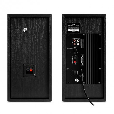 SVEN MC-20 Black,  2.0 / 2x45W RMS, Bluetooth v. 2.1 +EDR, Digital LED display, FM-tuner, USB flash, SD card, remote control, Headphone input, glossy black front panels, wooden.