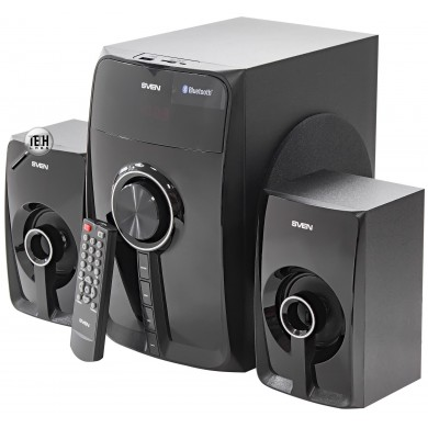 SVEN MS-307 Black,  2.1 / 20W + 2x10W RMS,  Bluetooth v. 2.1 +EDR, Digital LED display, FM-tuner,  USB flash, SD card, remote control, Headphone input, glossy black front panels, wooden.