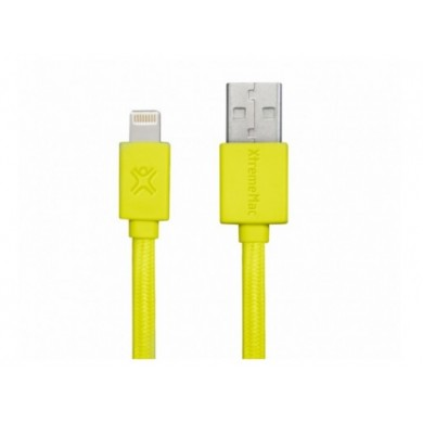 Cable Lightning 1.0m - XtremeMac Flat Cable, Yellow, Apple MFI Certified, Premium Quality, Nylon structure, Resistant