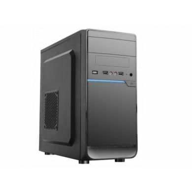 HPC D-08  mATX Case, (500W, 24 pin, 2xSATA, 12cm fan), 2xUSB2.0 / HD Audio, Shiny Black + Blue decoration