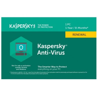 Renewal - Kaspersky Anti-Virus - 1 device, 12 months, Card