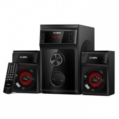 SVEN MS-302 Black,  2.1 / 20W + 2x10W RMS, FM-tuner, USB & SD card Input, Digital LED display, remote control, sub. wooden