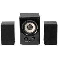 SVEN MS-80 Black,  2.1 / 5W + 2x1W RMS, volume level control, magnetic shielding, headphones jack, wooden
