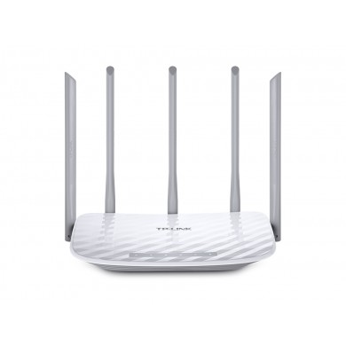 TP-LINK  Archer C60  AC1350 Dual Band Wireless Router, Atheros, 867Mbps at 5Ghz + 450Mbps at 2.4Ghz, 802.11ac/a/b/g/n, 1 WAN + 4 LAN, Wireless On/Off and WPS button, 3 x 2.4GHz fixed antennas + 2 x 5GHz antennas