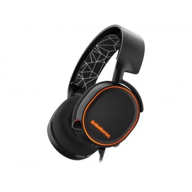 STEELSERIES Arctis 5 / Gaming Headset with retractable Best Mic in Gaming, ClearCast, DTS Headphone:X 7.1 Surround Sound, 40mm neodymium drivers, Prism RGB, Compatibility (PC/Mac/PS/VR/Mobile), Cable lenght 1.8 m+1.2 m, 3.5mm jack, USB, Black