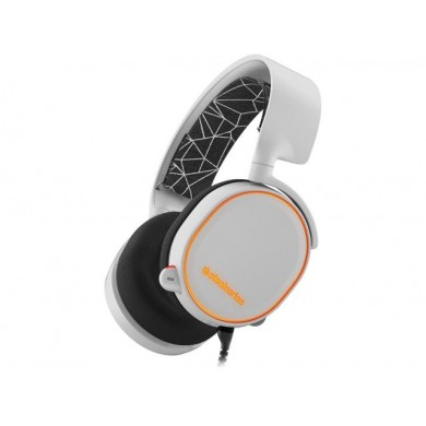 STEELSERIES Arctis 5 / Gaming Headset with retractable Best Mic in Gaming, ClearCast, DTS Headphone:X 7.1 Surround Sound, 40mm neodymium drivers, Prism RGB, Compatibility (PC/Mac/PS/VR/Mobile), Cable lenght 1.8 m+1.2 m, 3.5mm jack, USB, White