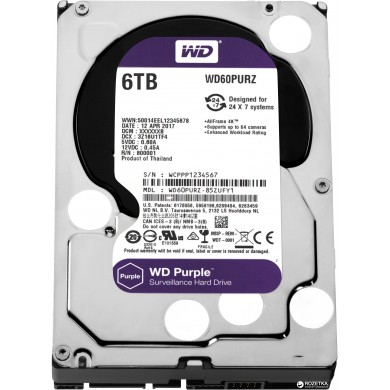 """3.5"""" HDD 6.0TB  Western Digital WD60PURZ Caviar® Purple™, IntelliPower, 64MB, SATAIII"""