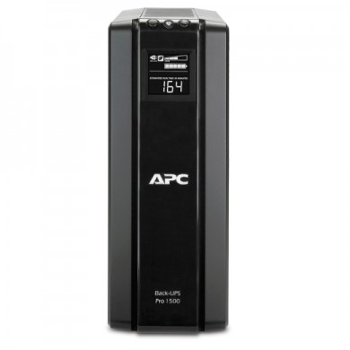 APC Back-UPS Pro BR1500G-RS, 1500VA/865W, AVR, 6 x CEE 7/7 Schuko (3 Battery Backup, all 6 Surge Protected), RJ-11/ RJ-45 Data Line Protection, LCD Display, PowerChute USB Port, External Battery Pack Port