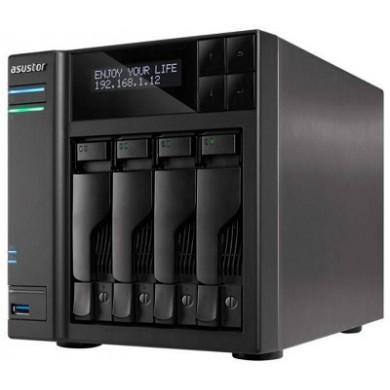 "4-bay NAS Server  ASUSTOR ""AS6404T"", Intel Celeron J3455 (Quad-Core) 1.5-2.3GHz, 8GB DDR3L(4GB x2), 2.5""/3.5""SATA x4 (Hot Swap), LCD Panel, USB3.0 x4 (Type A x3, Type C x1), Gigabit LAN x2, HDMI, S/PDIF, WOW, AES-NI, HT, IR, Surveillance:<36 (4 Free)"