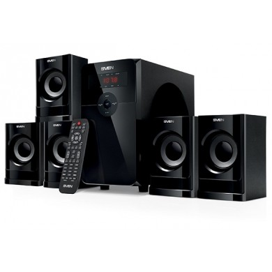 "SVEN HT-201 Black,  5.1 / 20W + 5x12W RMS, Bluetooth+EDR, FM-tuner, USB & SD card Input, Digital LED display, built-in clock, remote control, all wooden (sub.5.3"" + satl.3.2"")"