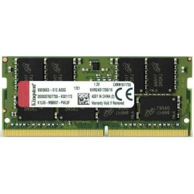 16GB DDR4-2400 SODIMM  Kingston ValueRam, PC19200, CL17, 2Rx8, 1.2V